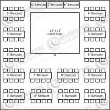 112 people 40x40 with banquet tables buffet dance floor for Banquet floor plan template