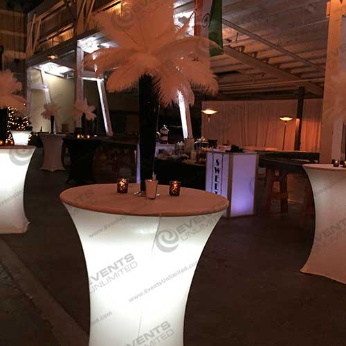 Glow Spandex Cocktail Table Events Unlimited