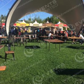 A Saddlespan tent can be used for an epic entrance or shade area.