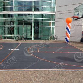 Basketball court built out and custom branded for one day event.