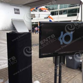 Custom branded photo booth with social media uploads.