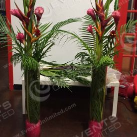 3ft Vases with birds of paradise.