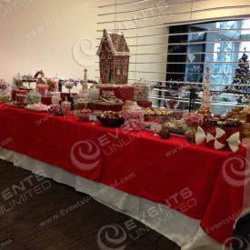 Full candy station for holiday event.