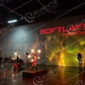 Logo Projection and fire effect lighting.