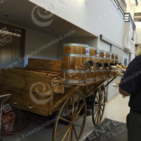Our western themed soda fountain can be provided with or without a cover on the wagon...  Without the cover it works great for oktoberfest events and many themes...