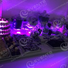 A glow candy station provided by Events Unlimited.