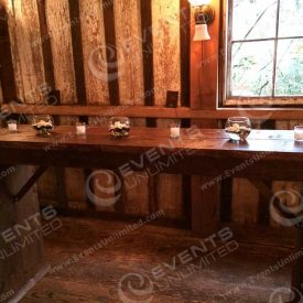 These rustic bar tables we had custom made- they are the perfect rustic standing table option- available in larger quantities for bigger groups.