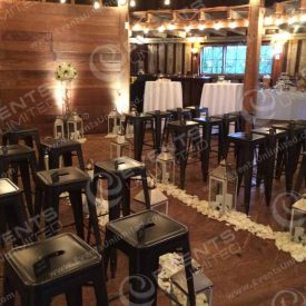 Another view of the barn wedding chapel transformation.