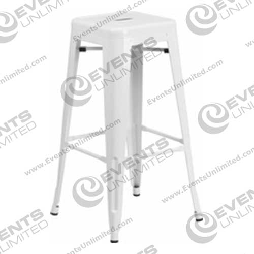 White Metal Stool Events Unlimited