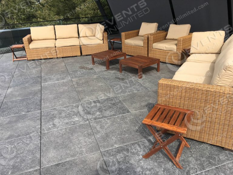 Brown Blonde Wicker Seating - Events Unlimited