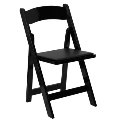 black padded folding chair rental
