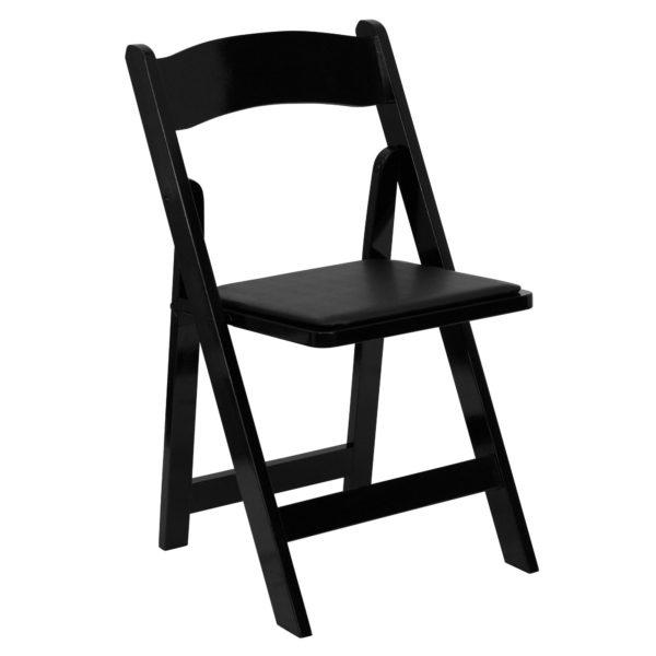 black padded folding chair rental