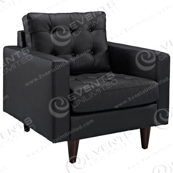 Empress Bonded Leather Armchair - Black - Front