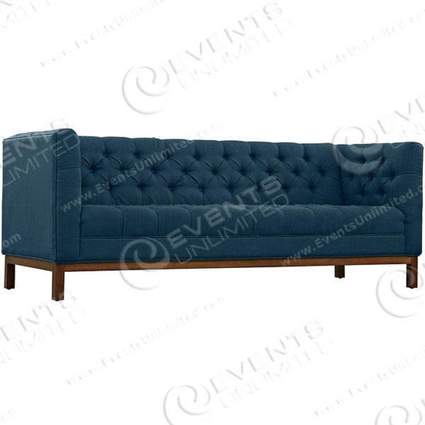 Panache Upholstered Fabric Sofa - Azure - Front